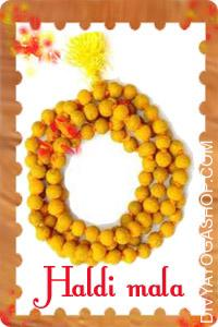Turmeric (Haldi) Mala This Haldi Mala  charged by Bagalamukhi mantra. Turmeric Mala (Haldi Mala) is used to carry out Anushtaan...
