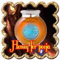 Honey for puja Honey is a sweet and viscous fluid produced by honeybees from the nectar of flowers. Honey is an integral part of conventional pooja thali...