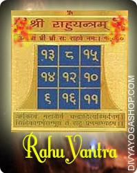 Rahu gold plated yantra This  Siddha Rahu  gold plated  Yantra charged by  Rahu  mantra.  When Rahu (Dragon's Head) is malefic in the chart or horoscope, Rahu gold plated  Yantra/ Dragon's Head Yantra is kept in the home or pocket to negate the malefic effects...