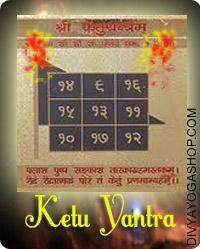 Ketu gold plated yantra This  Siddha Ketu  gold plated  Yantra charged by  Ketu  mantra.  Ketu Yantra is used to remove the malefic effects of Ketu. When Ketu is malefic,...