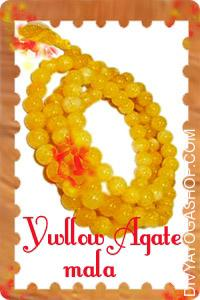 Yellow Agate Mala This Yellow agate mala (Yellow Hakik mala) charged by Guru mantra. Agate is a semi precious opaque gem. Agate is a symbol of safety, courage and success...
