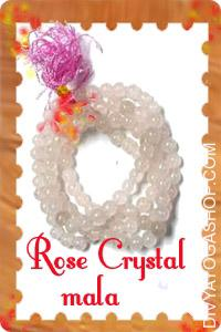 Rose Crystal mala This Rose Crystal mala charged by Moon mantra. Rose quartz balances the emotions. Additionally...