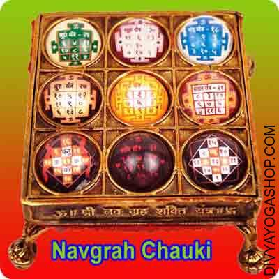 Crystal Navgrah Chowki This Crystal Navgrah Chaukiis energized by Shree Ganesha mantra. Navgraha Chowki prepared in brass have a stupendous look and the Nine planets (Nav Graha) are placed on it. It helps to power the weak plantes in a single's kundali...
