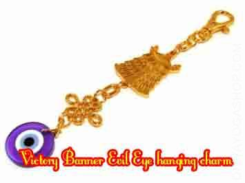Victory Banner Evil Eye hanging charm The Victory Banner (also referred to as Dhvaja), was adopted through Buddhism as one of many Eight Favorable...