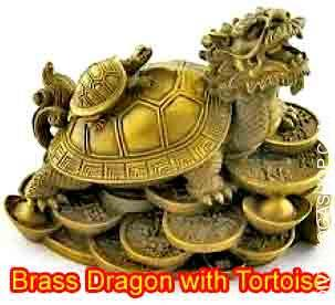 Brass Dragon with Tortoise Dragon Tortoise made out of Brass depicted transport its child on its shell, suggestive of great descendant luck with obedient and..