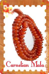 Carnelian Mala This Carnelian Mala charged by Surya mantra. Carnelian is a Energy Stone, a stone of ambition and drive...