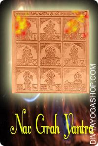 Navgrah copper yantra This  Siddha Navgrah Yantra charged by   Navgrah  mantra.   Navgrah Yantra is a combined Yantra for all the nine planets and is divided into nine squares, every one with a talisman representing one planet...