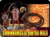 Chhinnamasta yantra and rosary for evil eye