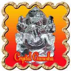 Crystal Ganesha  Crystal (Sphatik) Ganesha Idol is charged by Panchmukhi Ganesha mantra. Sphatik Ganesha is hand made out of fantastic high quality crystal and weighs about 15-20 grams...