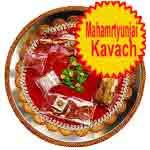Traditional rakhi thali with mahamrtyunjai kavach
