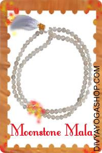 Moonstone Mala This Moonstones mala charged by Moon mantra. Moonstones are a member of the monoclinic family of healing...
