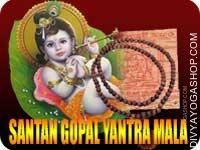 Santan gopal yantra mala for child This Santan gopal Yantra and rosary energized by Santan gopal mantra. It gives you getting child and safe progeny...