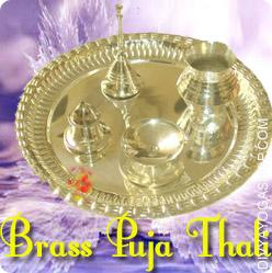 Brass Puja thali This Brass Thali is charged by Shree Ganesha mantra. It is prepared for Puja, worship...