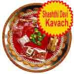 Traditional rakhi thali with shashti devi kavach