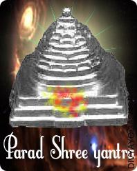Parad Shree Yantra This Parad Shree Yantra charged by Tripur-Sundari mantra. This Shree Yantra made from mercury is used for enhance in wealth, achieve of cash, success in lottery or gambling etc...