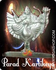 Parad Kartikeya This Parad Kartikeya charged by Panchmukhi Kartikeya mantra. artikeya symbols are based mostly on the weapons - Vel, the Divine Spear or Lance that He carries and His mount the peacock...