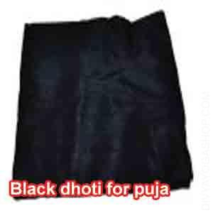 Black Dhoti for Puja This Black Dhoti is charged by Kali mantra. It is beneficial for Bhairav Puja, kali Puja, Krtya Puja, Karnapichasini Puja...