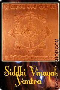 Siddhi Vinayak copper yantra This Siddhi Vinayak copper yantra is inscribed on copper and is energised with particular highly effective Ganesha Mantras. Siddhi Vinayak copper yantra drawing good luck and success in all undertakings while dispelling obstacles...