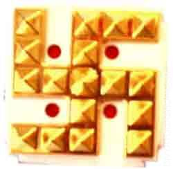 Golden pyramid swastik This distinctive swastik is an auspicious symbol...