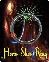 Horse Shoe Ring This Horse Shoe Ring charged by Shani mantra.  One can spend lacs for Rajopachaar Pooja, Yajna, Upaasana, etc. to appease lord Saturn, yet there may be suspicion in desired result. Nonetheless lord Saturn can be propitiated by carrying a hoop of black horseshoe...