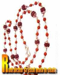 Rudraksha crystal in silver chain