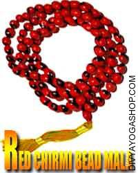 Red chirmi bead mala